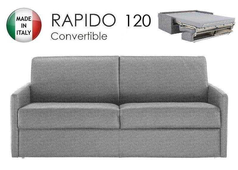 canape lit 2 3 places sun convertible ouverture rapido 120cm tissu tweed gris silex. Black Bedroom Furniture Sets. Home Design Ideas