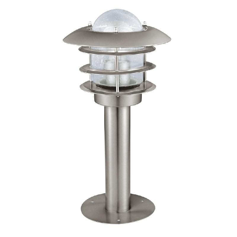 Mouna borne d 39 ext rieur acier verre h40cm luminaire d for Borne luminaire exterieur