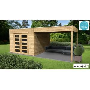 Abri de jardin en bois avec avancée - s8742-1-sans plancher