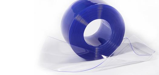 LANIÈRE SOUPLE PVC CRISTAL BLEU TRANSPARENT 190 X 2 MM ROULEAU DE 50 M (PRIX AU MÈTRE)