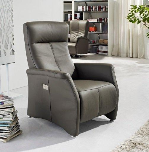 kingston fauteuil relax electrique sans fil cuir vachette gris. Black Bedroom Furniture Sets. Home Design Ideas
