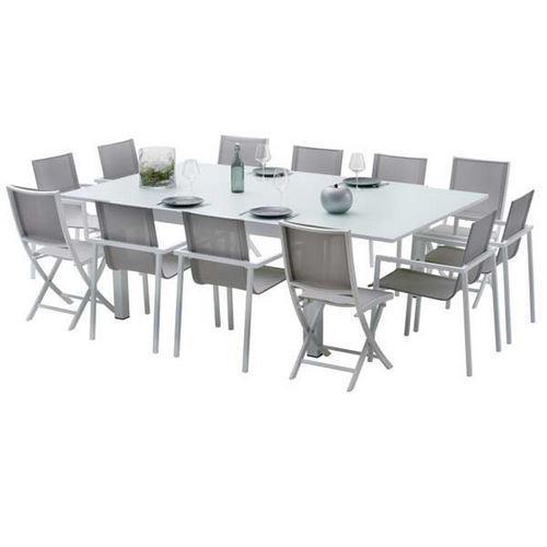 TABLE DE JARDIN 200/320 MODULO 12 PLACES GRISE Comparer les ...