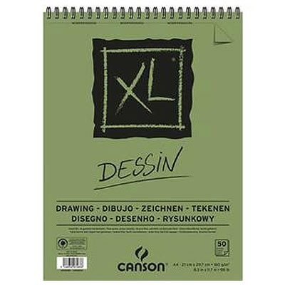 BLOC DE 50 FEUILLES DE PAPIER DESSIN CANSON XL DESSIN - PAPIER BLANC POUR GOMMAGES RÉPÉTÉS  -160G - A3