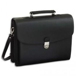 JUSCHA ATTACHÉ CASE AVEC 5 COMPARTIMENTS SIMILI CUIR NOIR