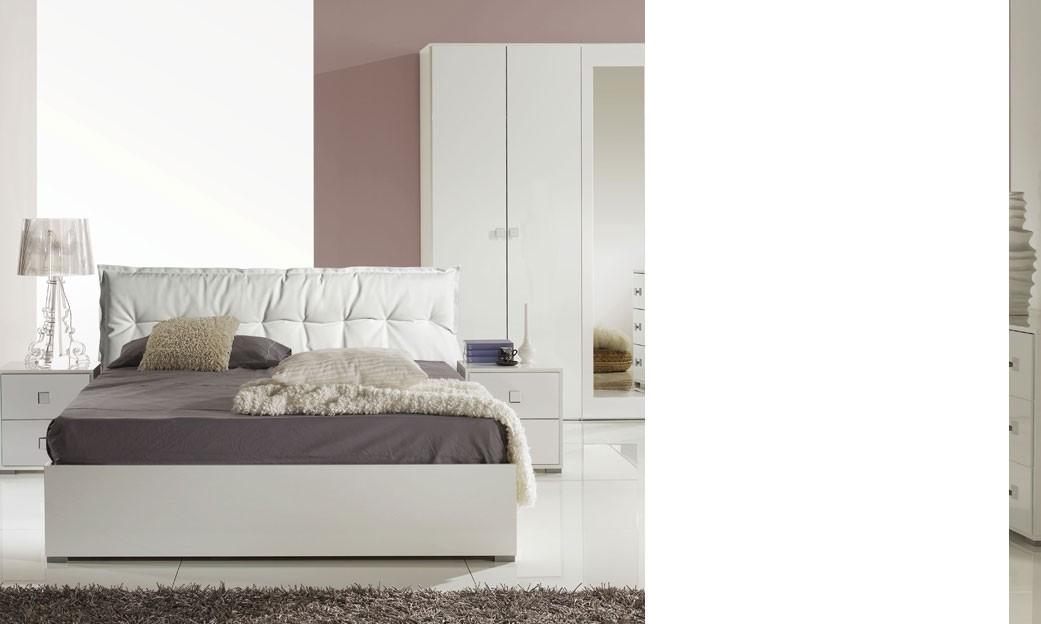 Chambre adulte blanc laqué design bunta