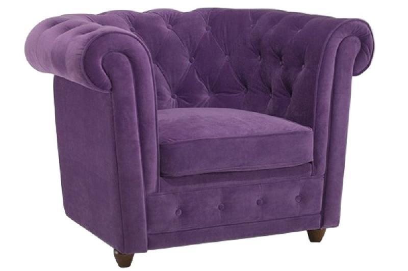 Fauteuil fixe chesterfield elite en velours violet capitonn comparer les pri - Fauteuil capitonne violet ...