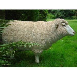 Mouton debout en résine, brebis tête haute - mouton tête haute beige-tex