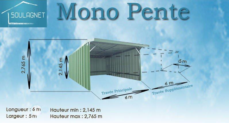 Abri de stockage mp66 / structure en acier / toiture en bacacier / bardage en bacacier / 6 x 6 m