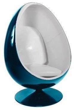 fauteuil pivotant oeuf egg chair coque bleue interieur blanc design 70 39 s. Black Bedroom Furniture Sets. Home Design Ideas
