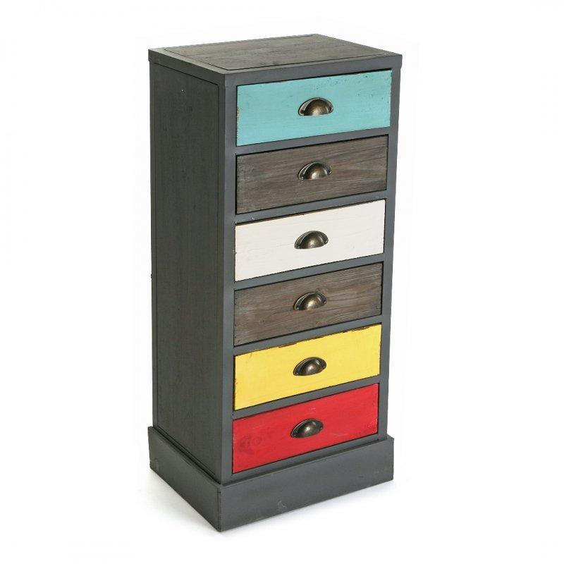 vancouver chiffonnier commode en bois 6 tiroirs colores. Black Bedroom Furniture Sets. Home Design Ideas