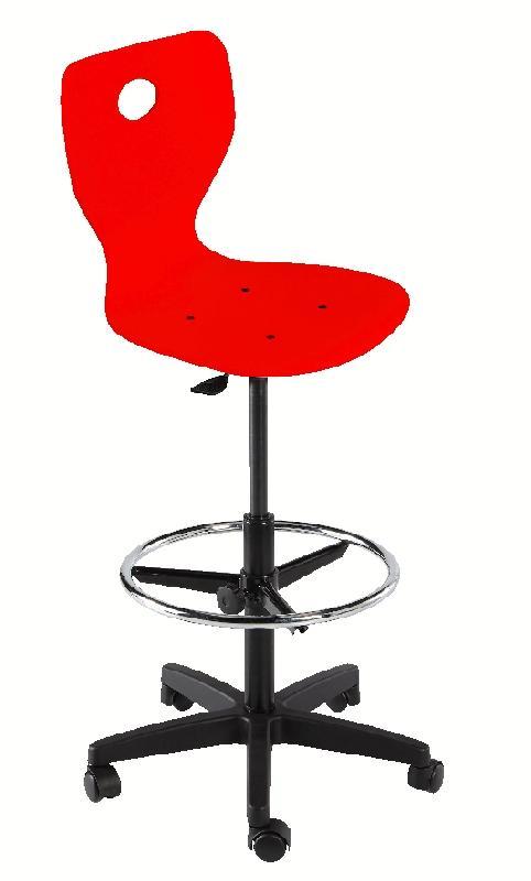 chaise dessinateur fidji pietement plastique sur patins coque bois laque rouge. Black Bedroom Furniture Sets. Home Design Ideas