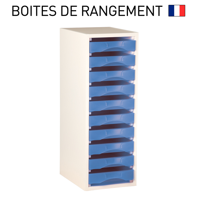 meuble bois blanc pour boites de rangement starbox plateau ref mplsb. Black Bedroom Furniture Sets. Home Design Ideas