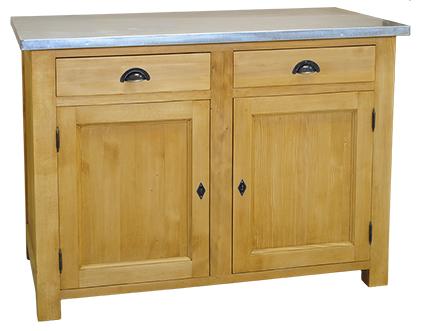meuble bas de cuisine 2 tiroirs 2 portes l 120 cm 39 39 nice 39 39 en bois massif comparer les prix de. Black Bedroom Furniture Sets. Home Design Ideas