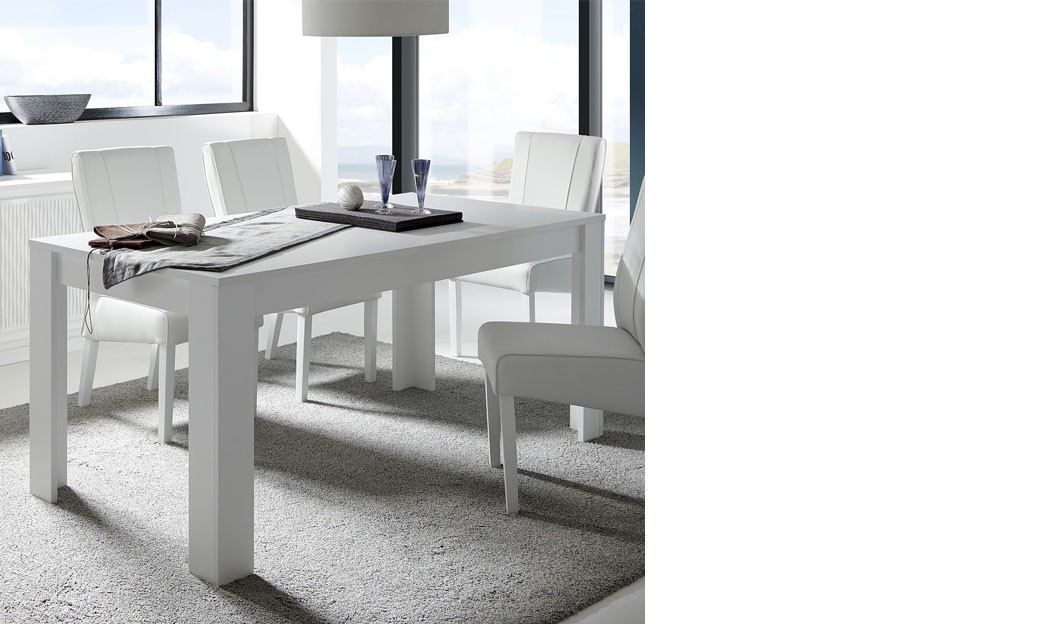 Table a manger avec rallonge blanc laque mat design aurora for Table salle a manger laque blanc rallonge