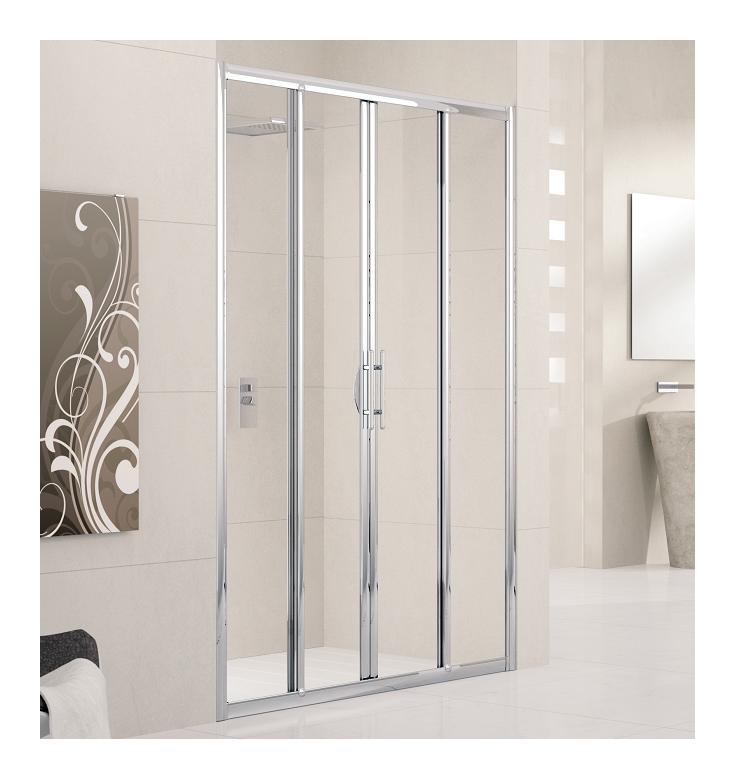 Porte de douche 4 panneaux lunes 2a 120cm transparent for Porte 4 panneaux