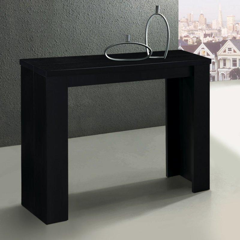console extensible en table repas elasto noire. Black Bedroom Furniture Sets. Home Design Ideas