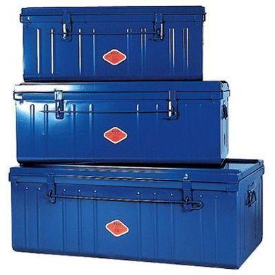 lot de 3 coffres de rangement metal bleu primaire phsa 202636. Black Bedroom Furniture Sets. Home Design Ideas
