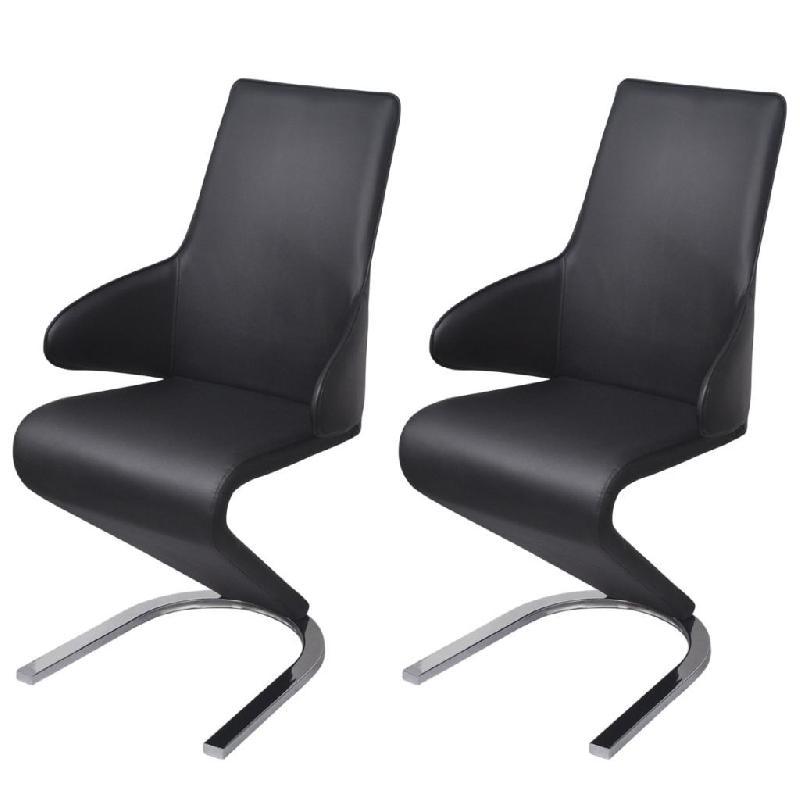 Lot de deux chaises cantilever 2 pcs en cuir artificiel noir 1902117