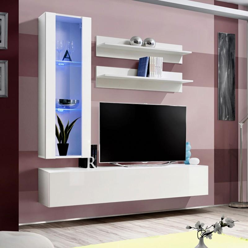 Meuble Tv Mural Design Fly Ii 170cm Blanc Paris Prix