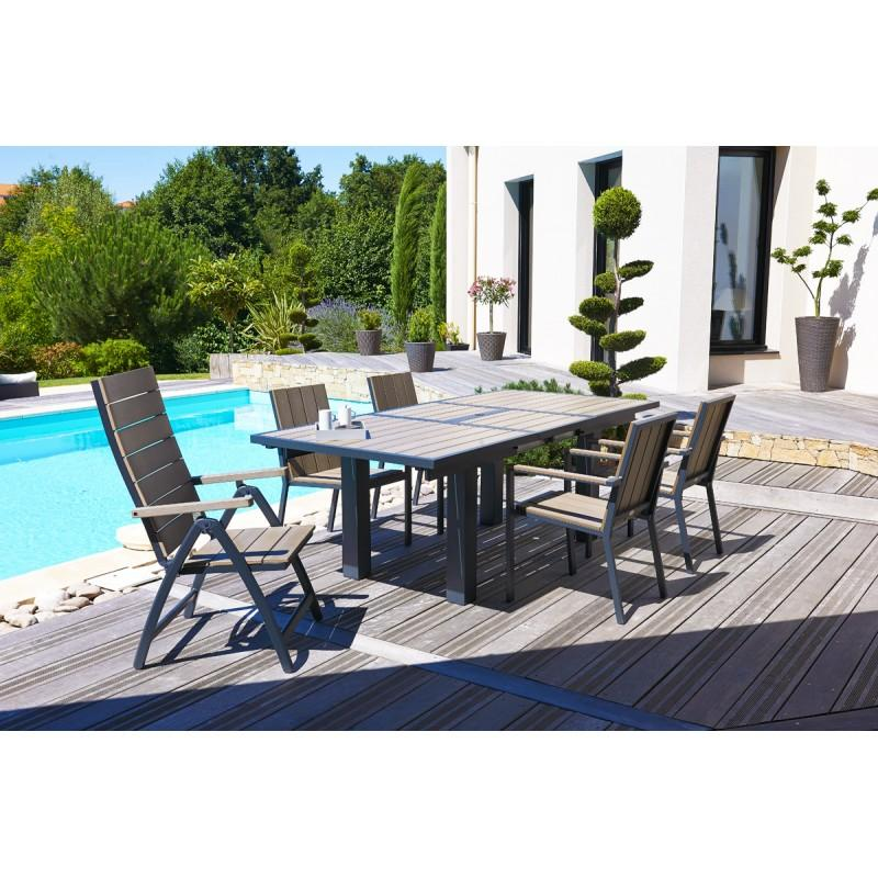 salon de jardin avec 6 fauteuils composite et 2 fauteuils multi positions comparer les prix de. Black Bedroom Furniture Sets. Home Design Ideas