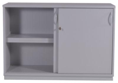 sequenz armoire basse h x l x p 820 x 1200 x 440 mm 1 tablette 2 portes coulissantes gris. Black Bedroom Furniture Sets. Home Design Ideas