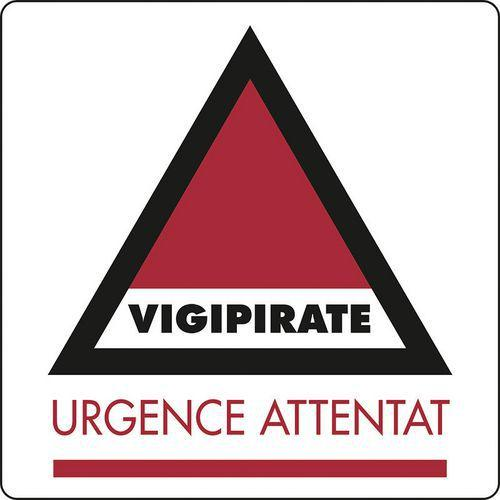PANNEAU VIGIPIRATE URGENCE ATTENTAT ADHÉSIF 30*30 CM