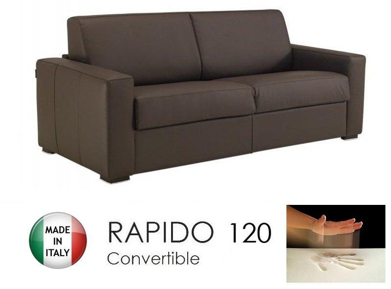 canape convertible rapido 120cm dreamer cuir eco marron matelas 120 14 190 cm a memoire de forme. Black Bedroom Furniture Sets. Home Design Ideas