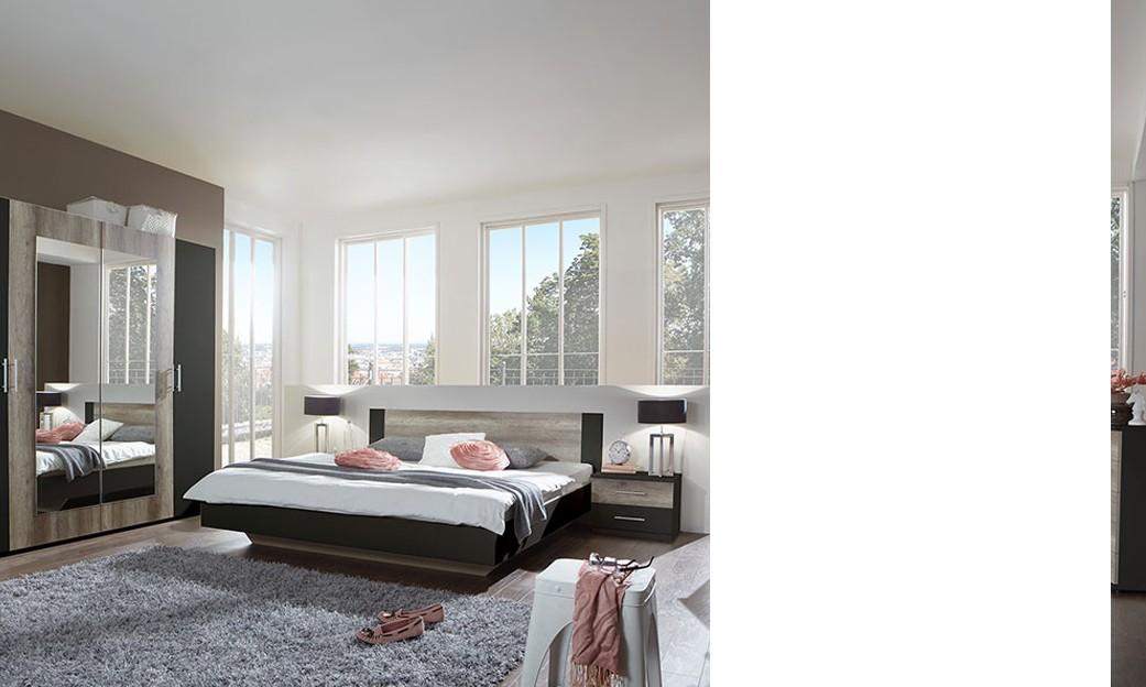 Chambre adulte complète contemporaine lidingo, coloris chêne et noir ...