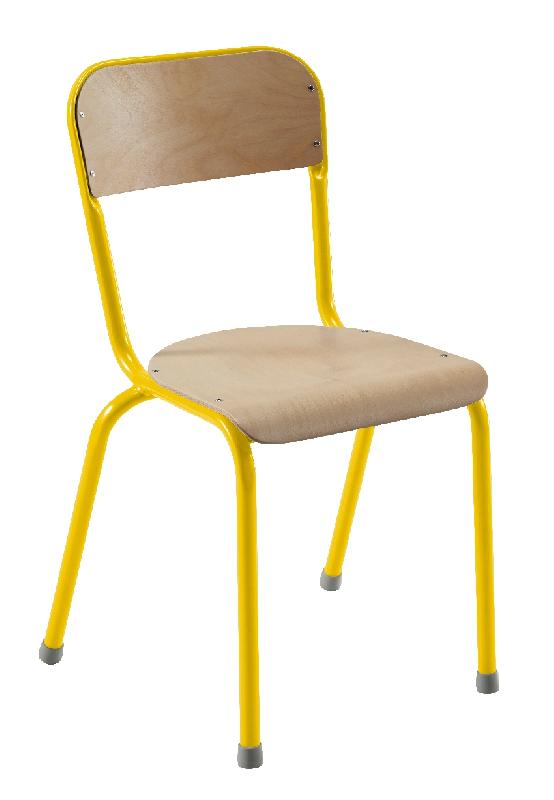 Chaise 4 pieds atlas antibruit t6 jaune 1023 for Chaise 3 pieds