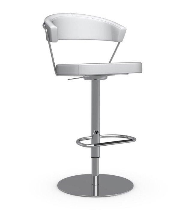 CHAISE DE BAR NEW YORK DESIGN EN CUIR BLANC OPTIQUE