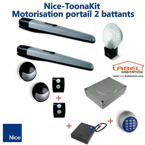 motorisation portail 2 battants nice toona 4024 motxr accessoires comparer les prix de. Black Bedroom Furniture Sets. Home Design Ideas