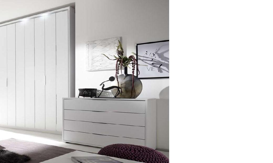 Commode design blanche et chrome chambre adulte igrid