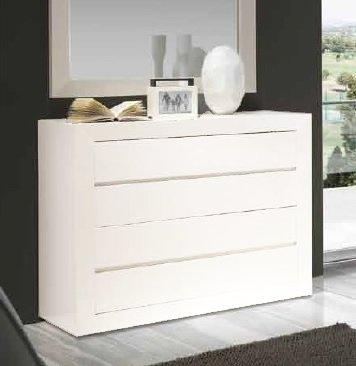 Commode malaga 4 tiroirs finition laque blanc Commode blanc laque