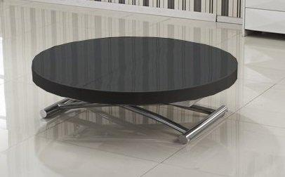 table basse ronde relevable et extensible saturna noire diametre 90 cm. Black Bedroom Furniture Sets. Home Design Ideas