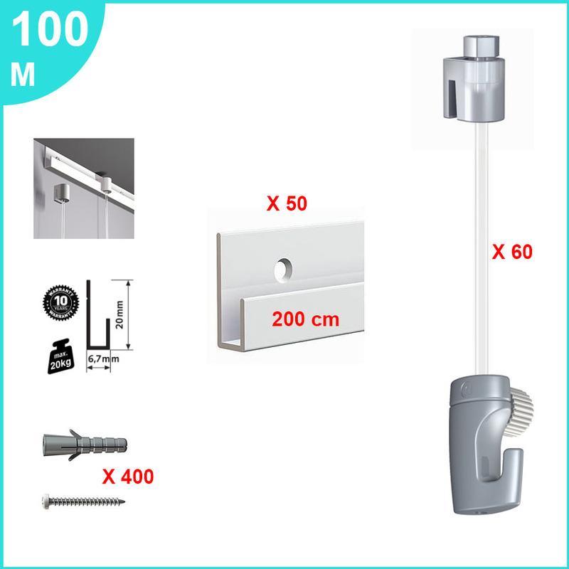 100 cm Arti Teq Pack 5 tiges Acier Blanc 2 mm pour cimaise
