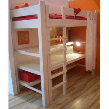 lit pour enfant sureleve junior de breuyn 90x200 avec bureau integre. Black Bedroom Furniture Sets. Home Design Ideas
