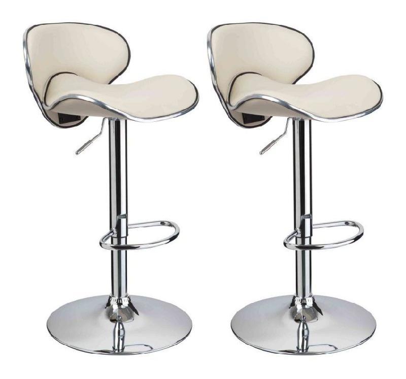 lot de 2 tabourets de bar design simili cuir avec dossier beige helloshop26 comparer les prix. Black Bedroom Furniture Sets. Home Design Ideas