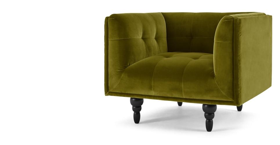 connor fauteuil velours vert olive. Black Bedroom Furniture Sets. Home Design Ideas