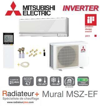 Climatisation Murale Inverter Mitsubishi Prêt à Poser Msz Ef50ve Muz