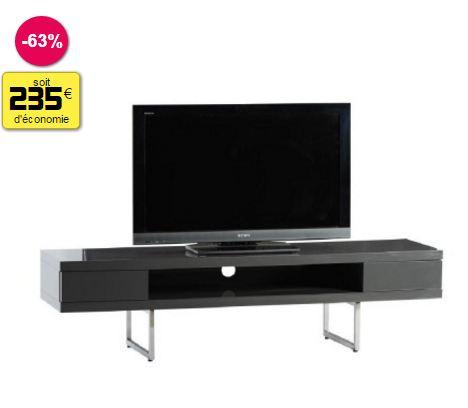 meuble tl noir brillant 2 tiroirs 160 x 40 x 41 cm