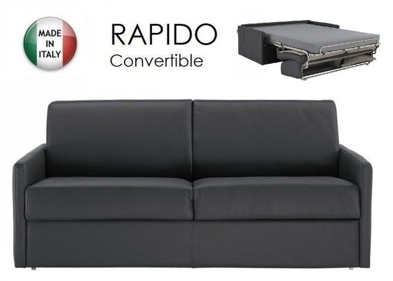 Canape lit 3 4 places sun convertible ouverture rapido 160cm cuir vachette noir for Rapido canape lit