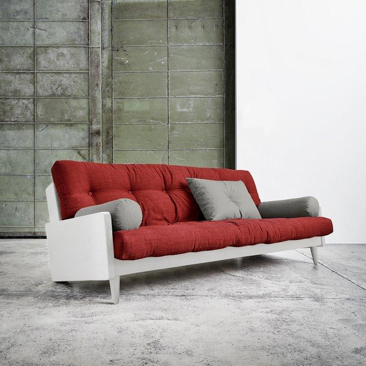 Canape Blanc 3 4 Places Convertible Indie Futon Rouge Passion