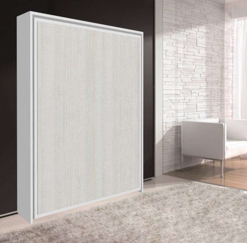 armoire lit escamotable cronos blanc et 140 22 190 cm. Black Bedroom Furniture Sets. Home Design Ideas