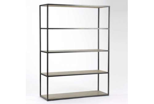 meuble bibliotheque etagere metal bois cendre. Black Bedroom Furniture Sets. Home Design Ideas