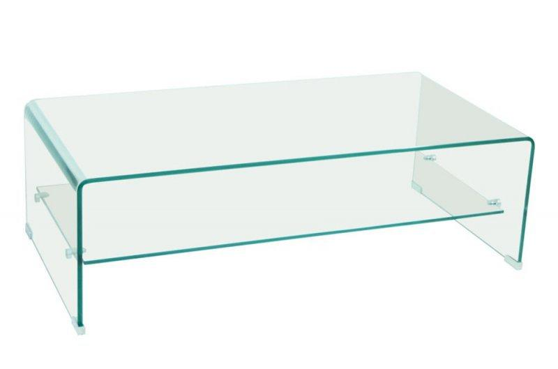 Table basse design side en verre trempe 12mm transparent - Table basse tout en verre ...