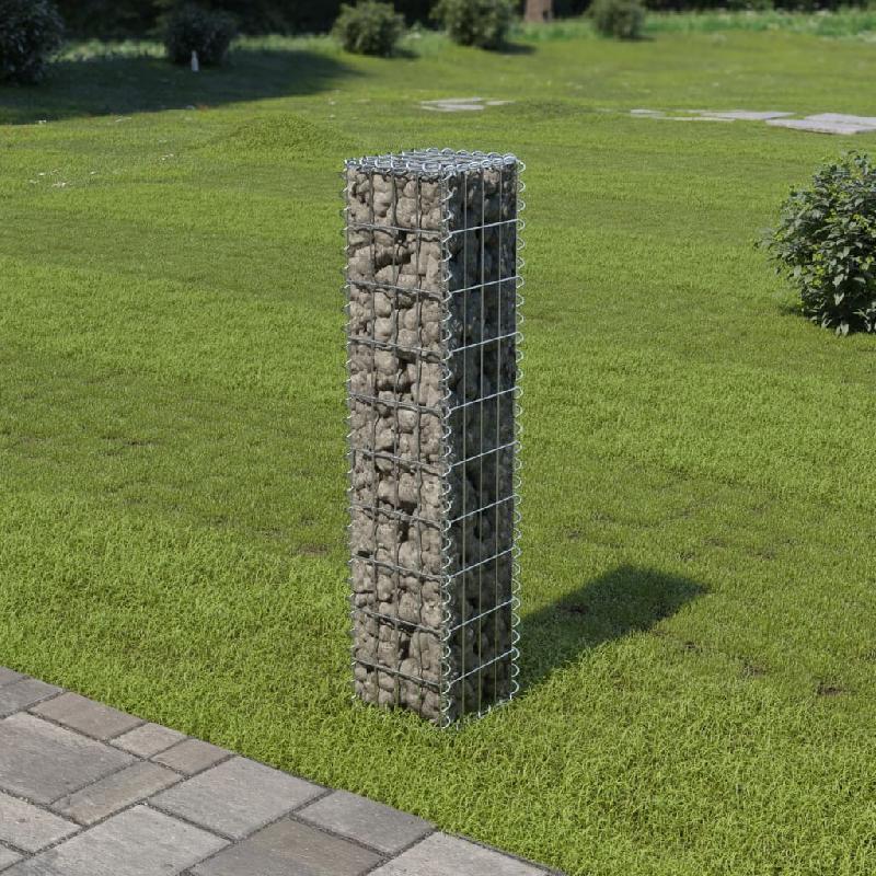 Vidaxl mur à gabion avec couvercles acier galvanisé 20 x 20 x 100 cm