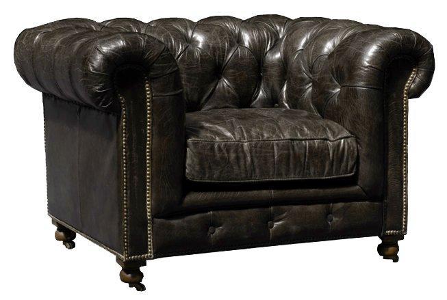 Fauteuil chesterfield vintage veritable noir capitonne - Fauteuil chesterfield noir ...