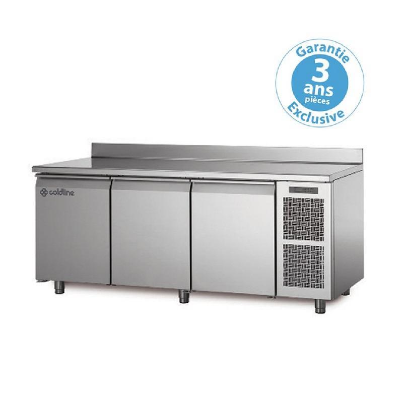 Table réfrigérée positive master avec plan de travail adossé groupe logé 3 portes 415 litres - ta171m-2