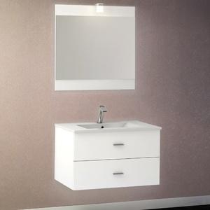 creazur ensemble meuble salle de bain miroir vasque moulee rosa 70 blanc. Black Bedroom Furniture Sets. Home Design Ideas