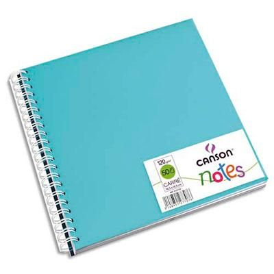 CARNETS DE NOTES CANSON - COUVERTURE EN POLYPRO - 18,5 X 18,5 CM - 100 PAGES - 120G - COLORIS ASSORTIS